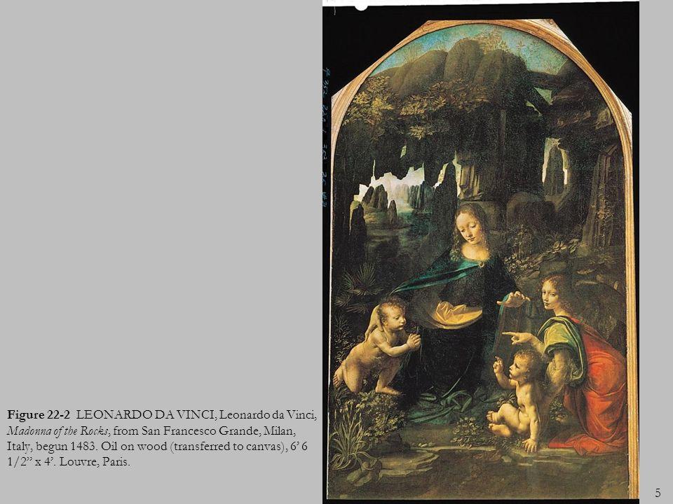 5 Figure 22-2 LEONARDO DA VINCI, Leonardo da Vinci, Madonna of the Rocks, from San Francesco Grande, Milan, Italy, begun 1483. Oil on wood (transferre
