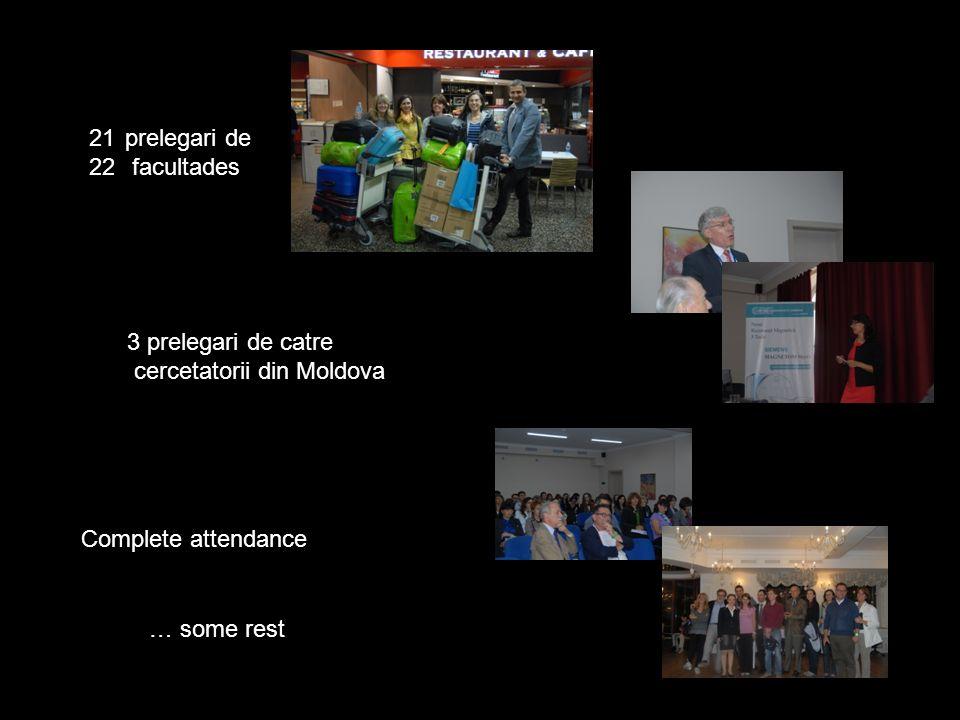 21prelegari de 22 facultades 3 prelegari de catre cercetatorii din Moldova Complete attendance … some rest