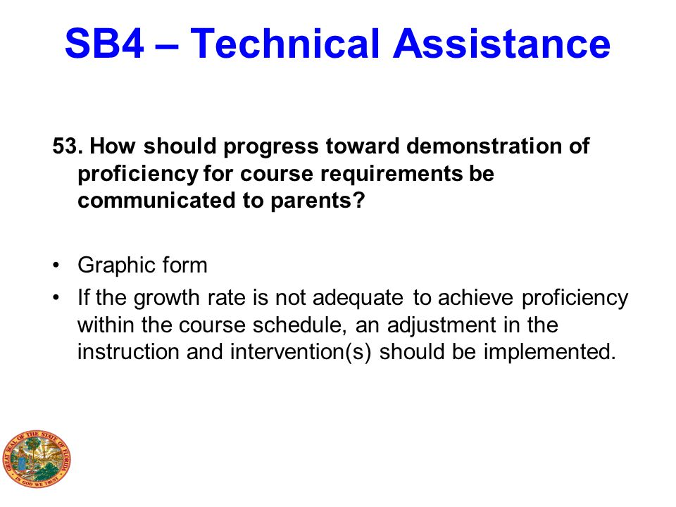 SB4 – Technical Assistance 53. How should progress toward demonstration of proficiency for course requirements be communicated to parents? Graphic for