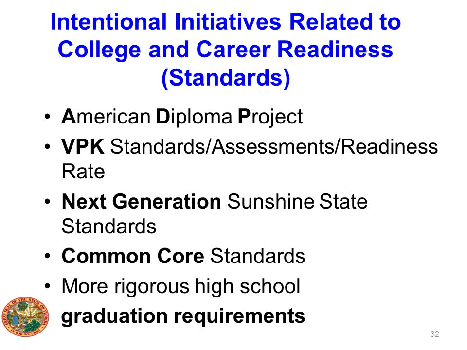 Intentional Initiatives Related to College and Career Readiness (Standards) American Diploma Project VPK Standards/Assessments/Readiness Rate Next Gen