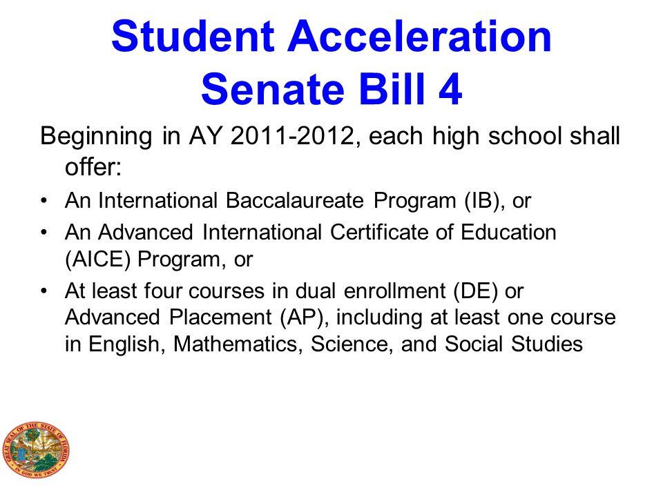 Student Acceleration Senate Bill 4 Beginning in AY 2011-2012, each high school shall offer: An International Baccalaureate Program (IB), or An Advance