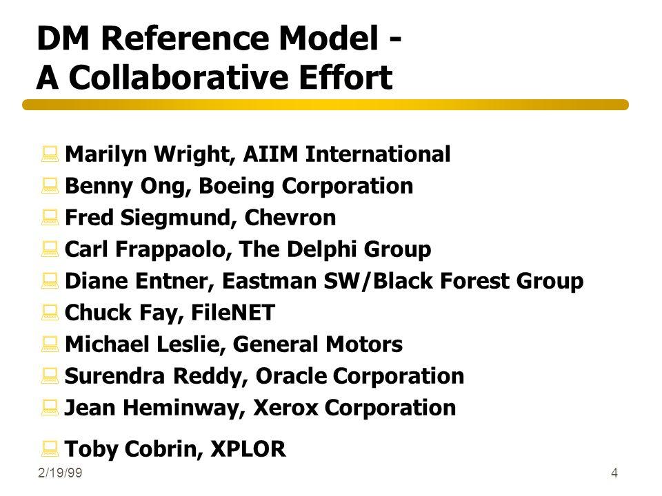 2/19/994 DM Reference Model - A Collaborative Effort :Marilyn Wright, AIIM International :Benny Ong, Boeing Corporation :Fred Siegmund, Chevron :Carl