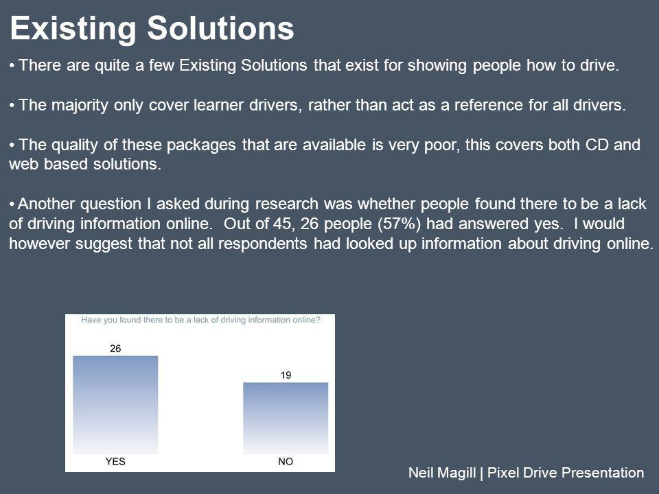 Existing Solutions Neil Magill | Pixel Drive Presentation There are quite a few Existing Solutions that exist for showing people how to drive. The maj