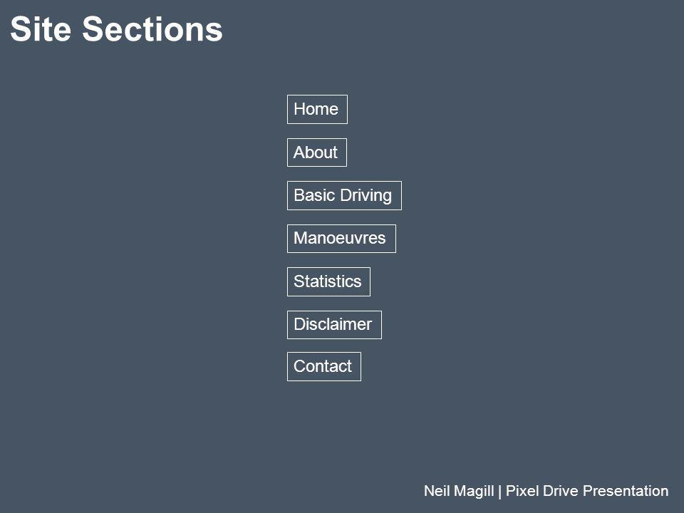 Site Sections Neil Magill | Pixel Drive Presentation Home About Basic Driving Manoeuvres Statistics Disclaimer Contact