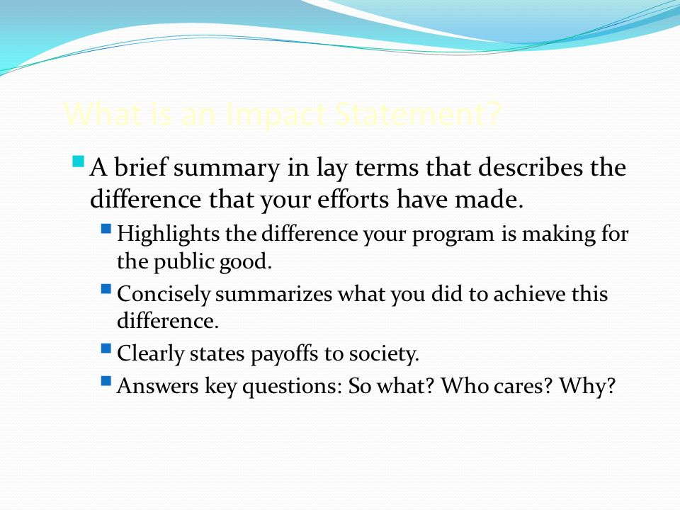 What is an Impact Statement.