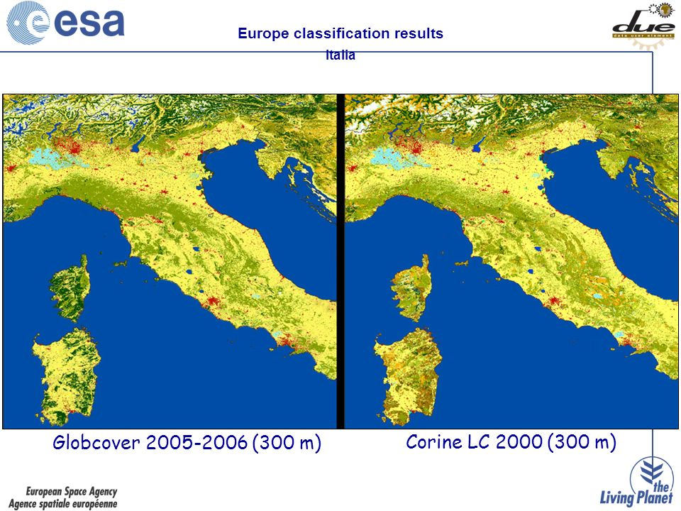 Europe classification results Italia Globcover 2005-2006 (300 m) Corine LC 2000 (300 m)