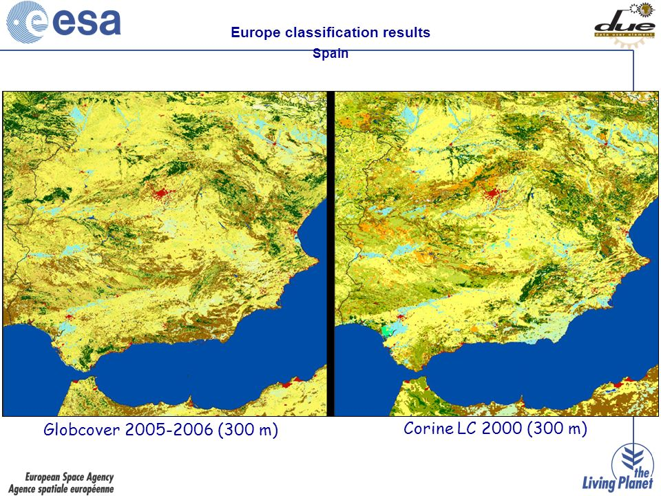 Globcover (300 m) Corine LC 2000 (300 m) Europe classification results Spain