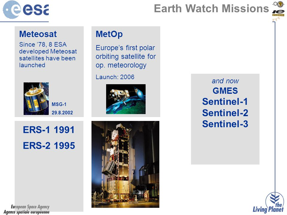 Meteosat Since 78, 8 ESA developed Meteosat satellites have been launched MSG Earth Watch Missions MetOp Europes first polar orbiting satellite for op.