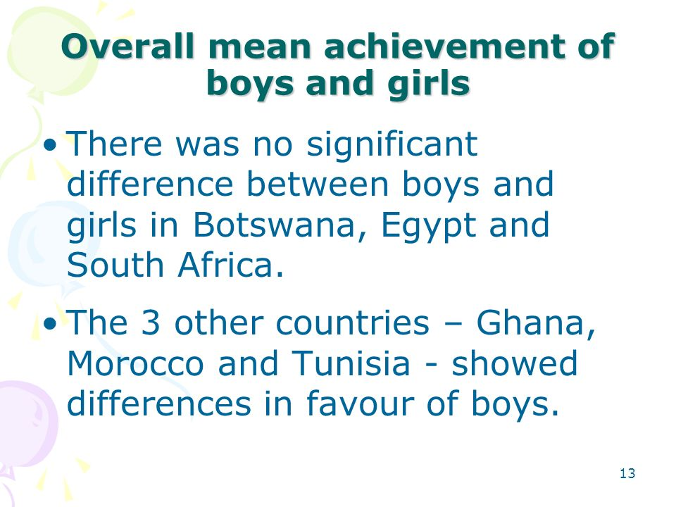 12 Overview of African students achievement (contd.) The performance of Ghana and South Africa were the lowest Egypt obtained the highest mean score i