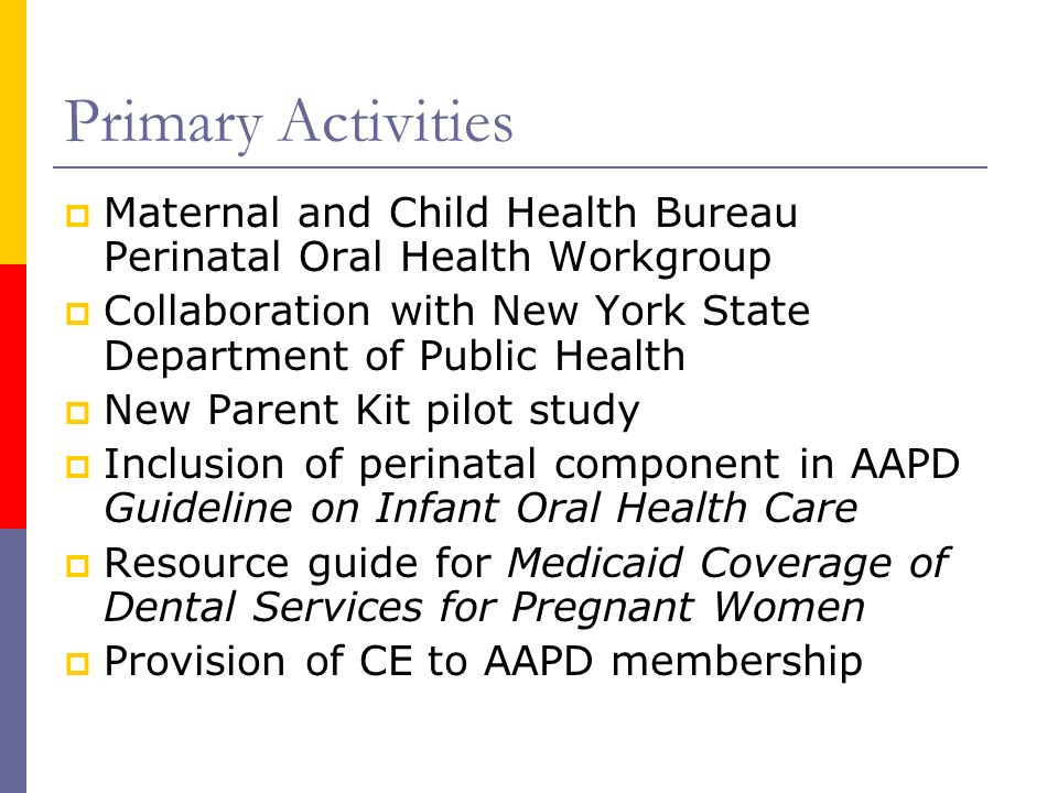 Primary Activities Maternal and Child Health Bureau Perinatal Oral Health Workgroup Collaboration with New York State Department of Public Health New