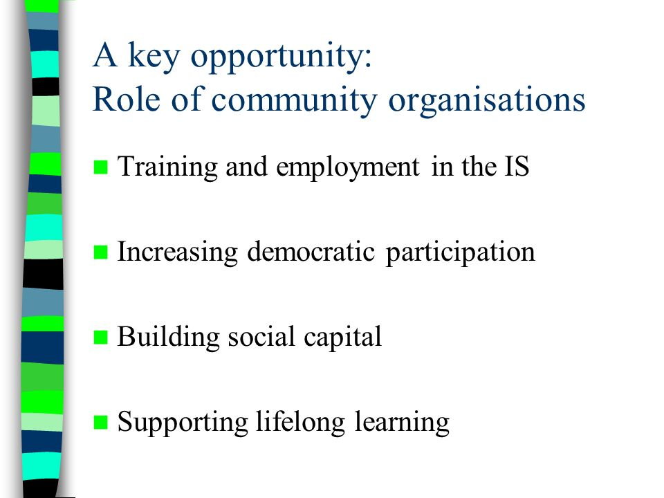 A key opportunity: Role of community organisations Training and employment in the IS Increasing democratic participation Building social capital Supporting lifelong learning