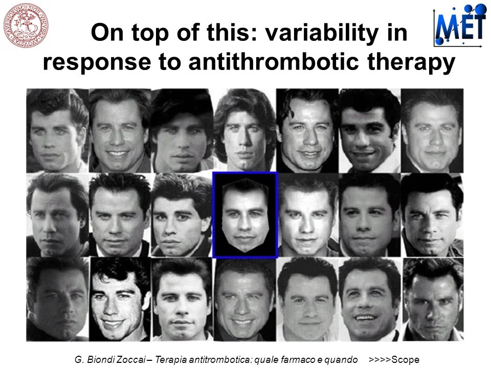 On top of this: variability in response to antithrombotic therapy G. Biondi Zoccai – Terapia antitrombotica: quale farmaco e quando>>>>Scope