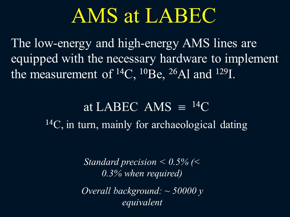 at LABEC AMS 14 C 14 C, in turn, mainly for archaeological dating AMS at LABEC The low-energy and high-energy AMS lines are equipped with the necessar