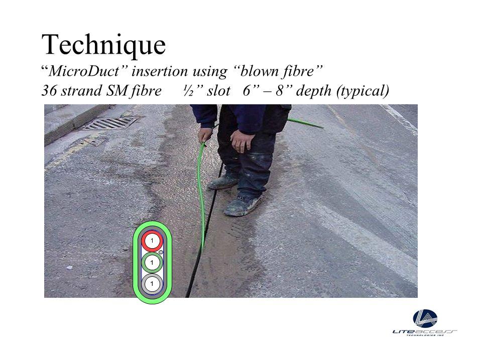 TechniqueMicroDuct insertion using blown fibre 36 strand SM fibre ½ slot 6 – 8 depth (typical)