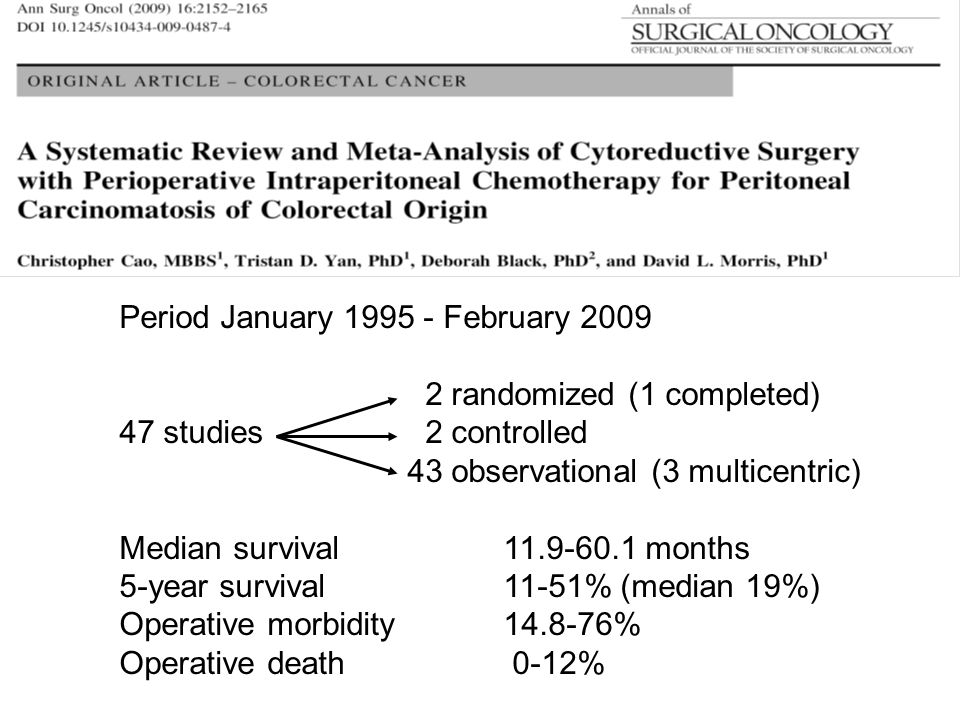 Period January 1995 - February 2009 2 randomized (1 completed) 47 studies 2 controlled 43 observational (3 multicentric) Median survival11.9-60.1 mont