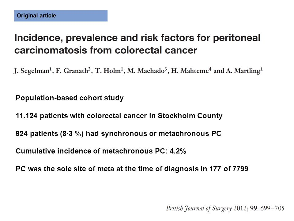 Population-based cohort study 11.124 patients with colorectal cancer in Stockholm County 924 patients (8·3 %) had synchronous or metachronous PC Cumul