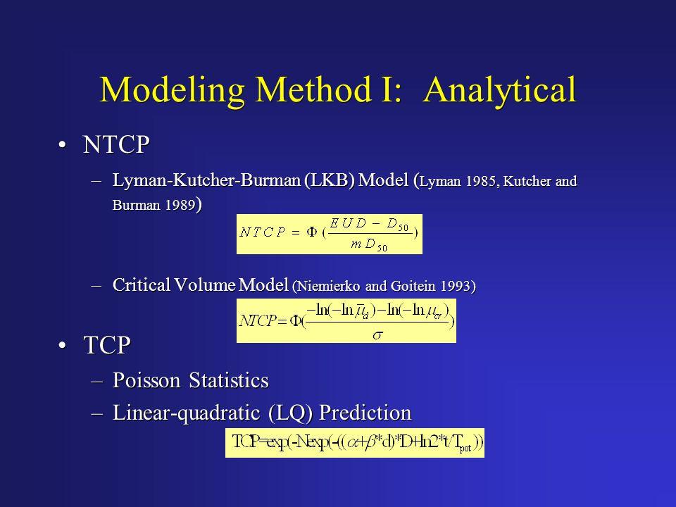 Modeling Method I: Analytical NTCP –Lyman-Kutcher-Burman (LKB) Model ( Lyman 1985, Kutcher and Burman 1989 ) –Critical Volume Model (Niemierko and Goi
