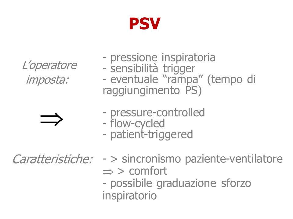 Loperatore imposta: Loperatore imposta: PSV Caratteristiche: - pressure-controlled - flow-cycled - patient-triggered - pressione inspiratoria - sensib