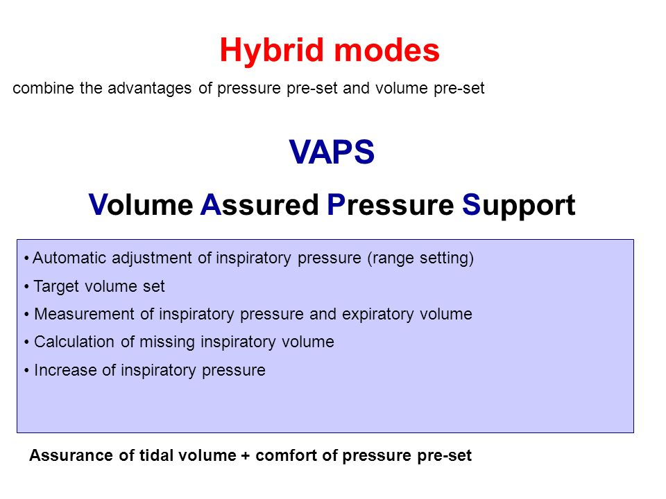 Hybrid modes combine the advantages of pressure pre-set and volume pre-set VAPS Volume Assured Pressure Support Automatic adjustment of inspiratory pr