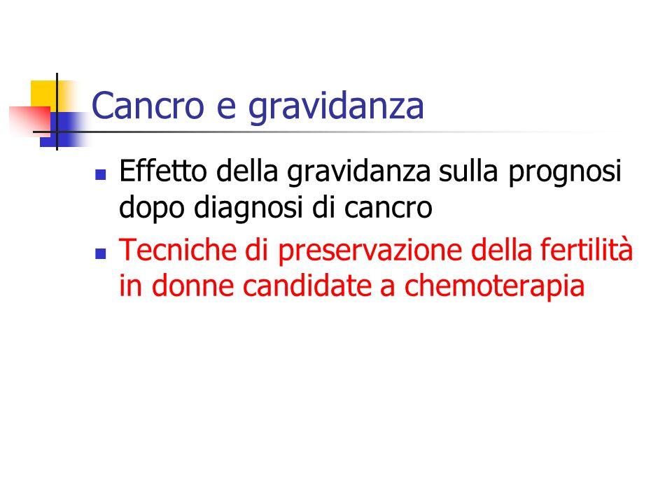 Cancro e gravidanza Effetto della gravidanza sulla prognosi dopo diagnosi di cancro Tecniche di preservazione della fertilità in donne candidate a chemoterapia