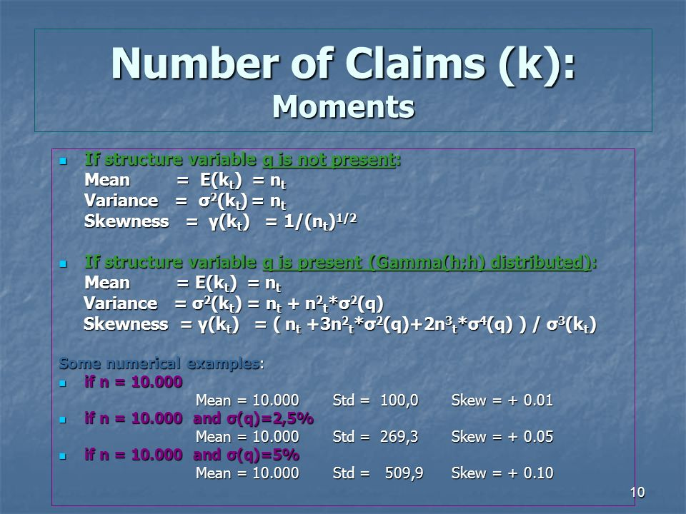 10 Number of Claims (k): Moments If structure variable q is not present: If structure variable q is not present: Mean = E(k t ) = n t Variance = σ 2 (k t ) = n t Skewness = γ(k t ) = 1/(n t ) 1/2 Skewness = γ(k t ) = 1/(n t ) 1/2 If structure variable q is present (Gamma(h;h) distributed): If structure variable q is present (Gamma(h;h) distributed): Mean = E(k t ) = n t Variance = σ 2 (k t ) = n t + n 2 t *σ 2 (q) Variance = σ 2 (k t ) = n t + n 2 t *σ 2 (q) Skewness = γ(k t ) = ( n t +3n 2 t *σ 2 (q)+2n 3 t *σ 4 (q) ) / σ 3 (k t ) Skewness = γ(k t ) = ( n t +3n 2 t *σ 2 (q)+2n 3 t *σ 4 (q) ) / σ 3 (k t ) Some numerical examples: if n = 10.000 if n = 10.000 Mean = 10.000Std = 100,0 Skew = + 0.01 if n = 10.000 and σ(q)=2,5% if n = 10.000 and σ(q)=2,5% Mean = 10.000Std = 269,3 Skew = + 0.05 if n = 10.000 and σ(q)=5% if n = 10.000 and σ(q)=5% Mean = 10.000Std = 509,9 Skew = + 0.10