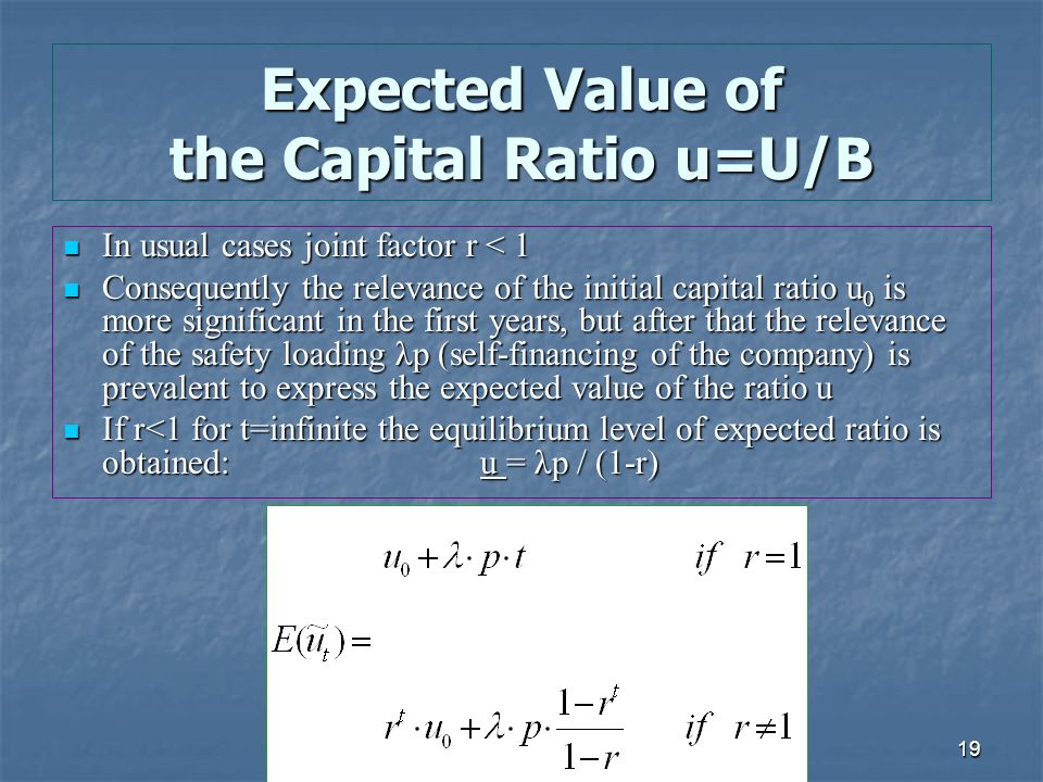 19 Expected Value of the Capital Ratio u=U/B In usual cases joint factor r < 1 In usual cases joint factor r < 1 Consequently the relevance of the initial capital ratio u 0 is more significant in the first years, but after that the relevance of the safety loading λp (self-financing of the company) is prevalent to express the expected value of the ratio u Consequently the relevance of the initial capital ratio u 0 is more significant in the first years, but after that the relevance of the safety loading λp (self-financing of the company) is prevalent to express the expected value of the ratio u If r<1 for t=infinite the equilibrium level of expected ratio is obtained: u = λp / (1-r) If r<1 for t=infinite the equilibrium level of expected ratio is obtained: u = λp / (1-r)