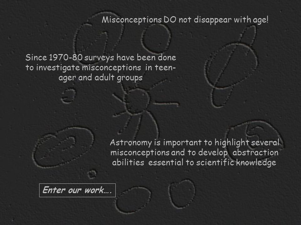 Astronomy is important to highlight several misconceptions and to develop abstraction abilities essential to scientific knowledge Since 1970-80 survey