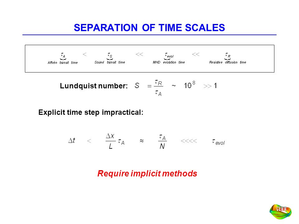 SEPARATION OF TIME SCALES Require implicit methods Lundquist number: Explicit time step impractical:
