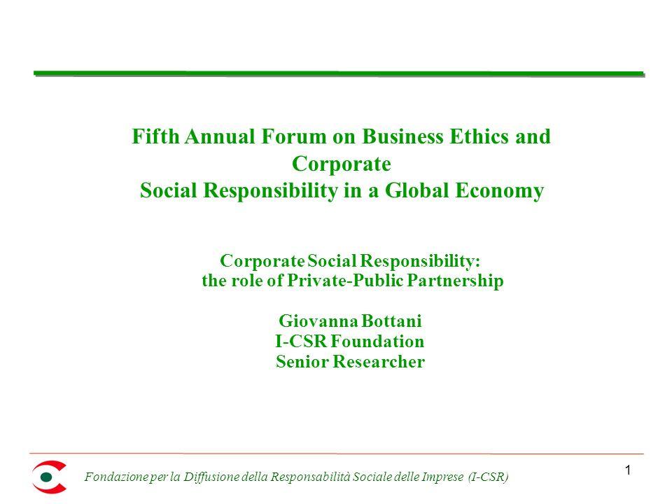 Fondazione per la Diffusione della Responsabilità Sociale delle Imprese (I-CSR) 12 Who is the driver .