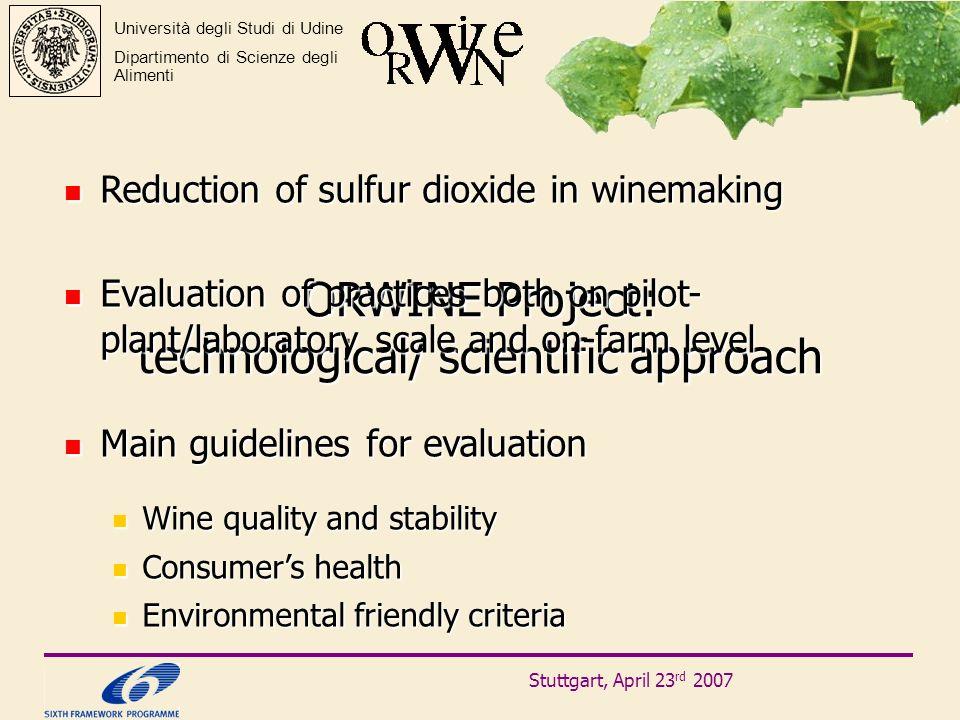 Stuttgart, April 23 rd 2007 Università degli Studi di Udine Dipartimento di Scienze degli Alimenti ORWINE Project: technological/ scientific approach