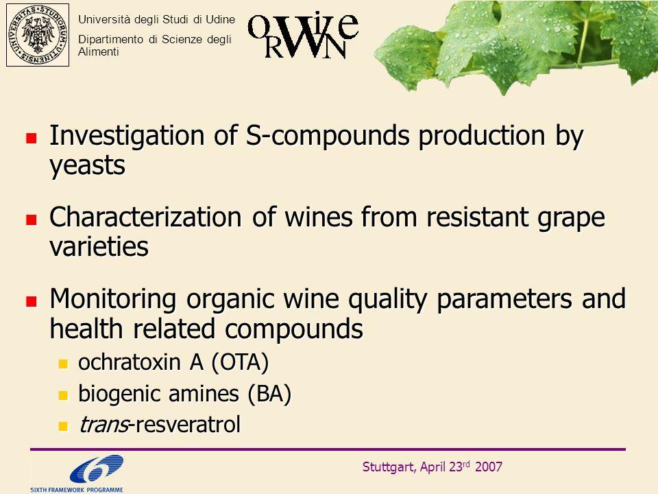 Stuttgart, April 23 rd 2007 Università degli Studi di Udine Dipartimento di Scienze degli Alimenti Investigation of S-compounds production by yeasts I