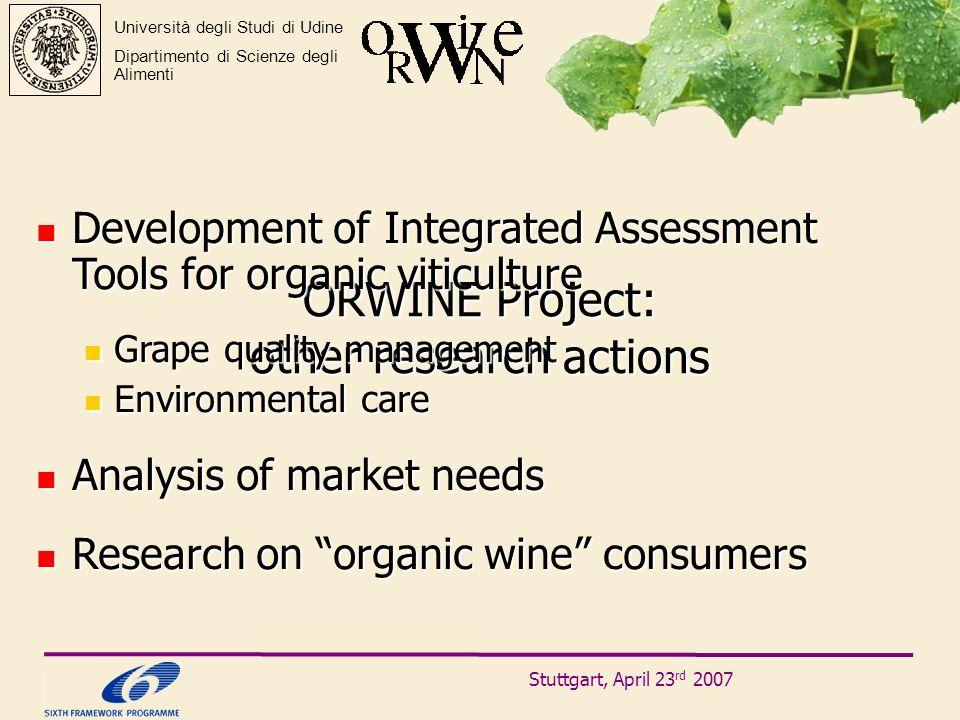 Stuttgart, April 23 rd 2007 Università degli Studi di Udine Dipartimento di Scienze degli Alimenti ORWINE Project: other research actions Development