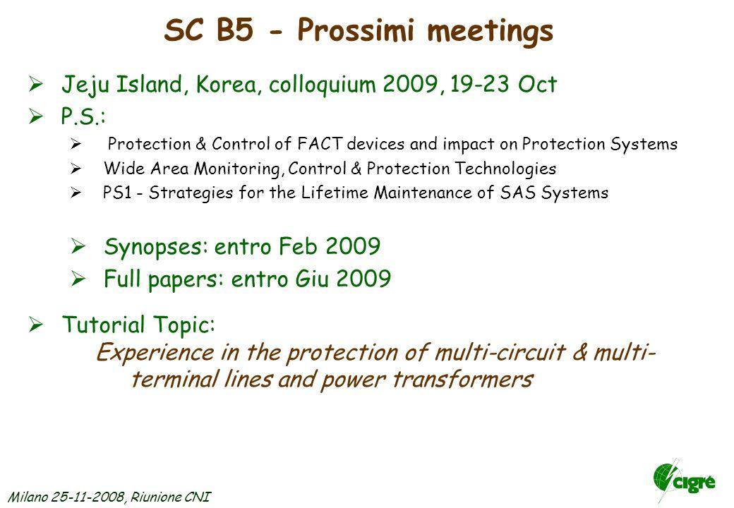 Milano 25-11-2008, Riunione CNI SC B5 - Nuove attività e futuri W.Groups Sono stati decisi i seguenti nuovi W.G.
