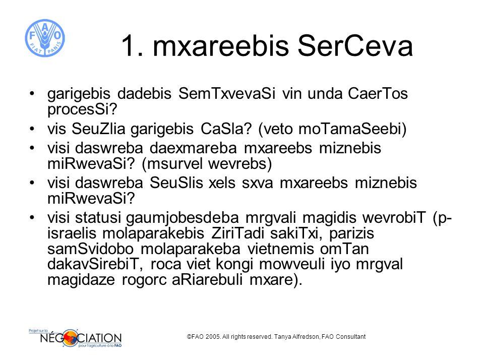 ©FAO 2005. All rights reserved. Tanya Alfredson, FAO Consultant 1. mxareebis SerCeva garigebis dadebis SemTxvevaSi vin unda CaerTos procesSi? vis SeuZ
