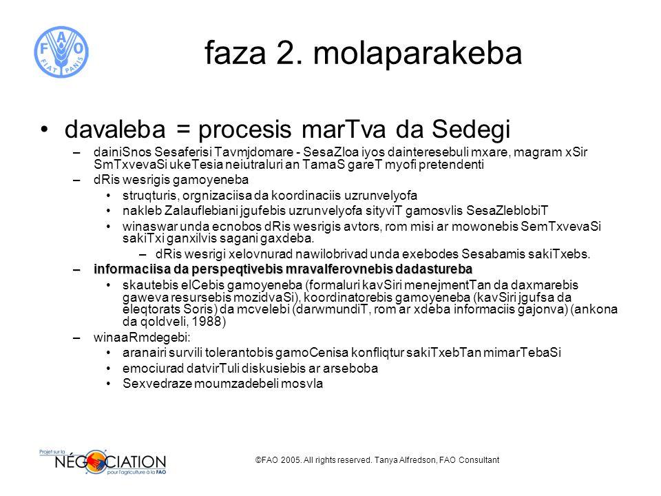 ©FAO 2005. All rights reserved. Tanya Alfredson, FAO Consultant faza 2. molaparakeba davaleba = procesis marTva da Sedegi –dainiSnos Sesaferisi Tavmjd