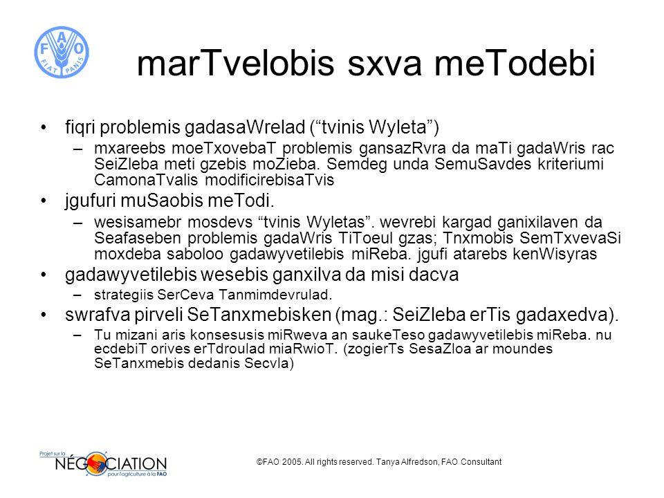 ©FAO 2005. All rights reserved. Tanya Alfredson, FAO Consultant marTvelobis sxva meTodebi fiqri problemis gadasaWrelad (tvinis Wyleta) –mxareebs moeTx