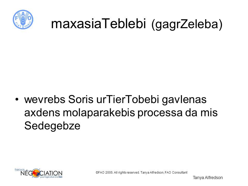 ©FAO 2005. All rights reserved. Tanya Alfredson, FAO Consultant maxasiaTeblebi (gagrZeleba) wevrebs Soris urTierTobebi gavlenas axdens molaparakebis p