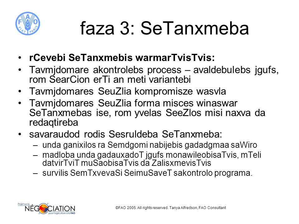 ©FAO 2005. All rights reserved. Tanya Alfredson, FAO Consultant faza 3: SeTanxmeba rCevebi SeTanxmebis warmarTvisTvis: Tavmjdomare akontrolebs process