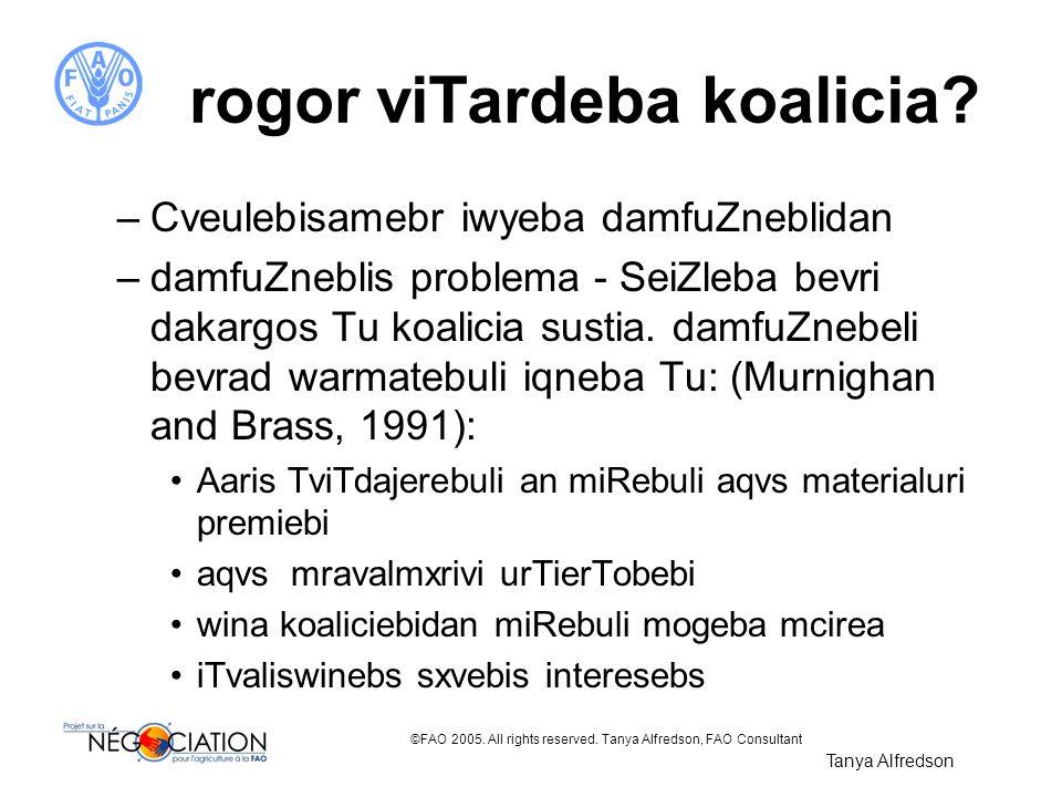 ©FAO 2005. All rights reserved. Tanya Alfredson, FAO Consultant rogor viTardeba koalicia? –Cveulebisamebr iwyeba damfuZneblidan –damfuZneblis problema