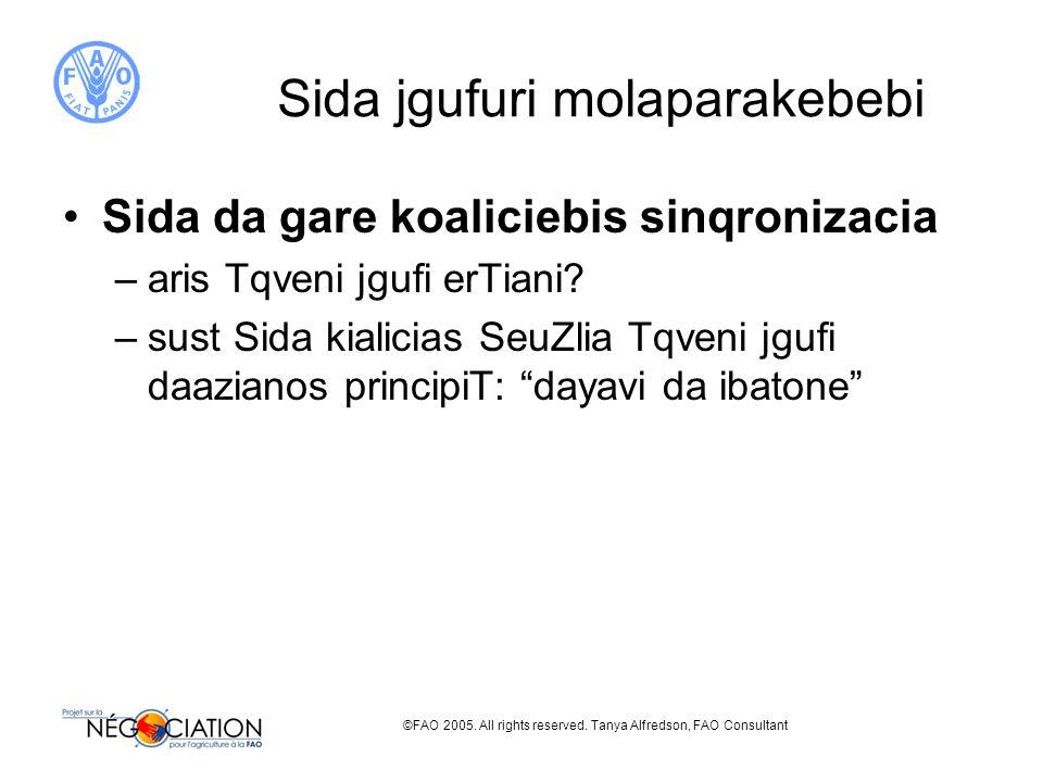 ©FAO 2005. All rights reserved. Tanya Alfredson, FAO Consultant Sida jgufuri molaparakebebi Sida da gare koaliciebis sinqronizacia –aris Tqveni jgufi