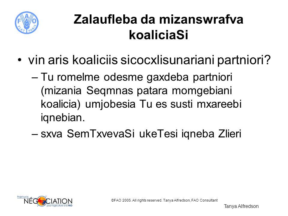 ©FAO 2005. All rights reserved. Tanya Alfredson, FAO Consultant Zalaufleba da mizanswrafva koaliciaSi vin aris koaliciis sicocxlisunariani partniori?