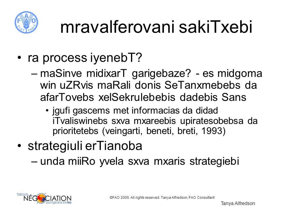 ©FAO 2005. All rights reserved. Tanya Alfredson, FAO Consultant mravalferovani sakiTxebi ra process iyenebT? –maSinve midixarT garigebaze? - es midgom