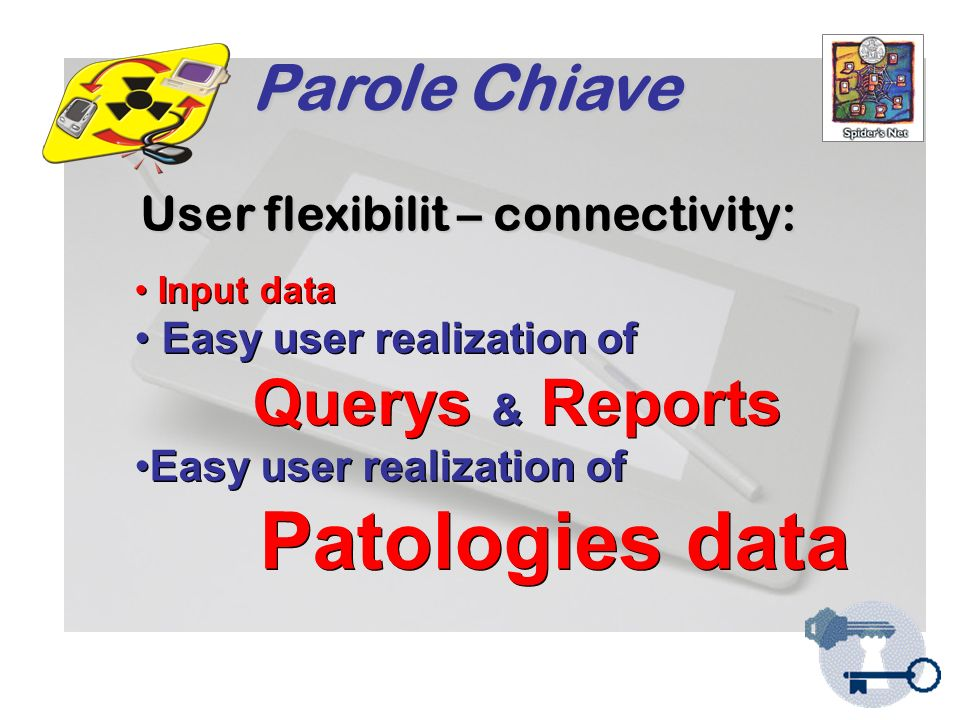 Parole Chiave Input data Easy user realization of Querys & Reports Easy user realization of Patologies data Input data Easy user realization of Querys