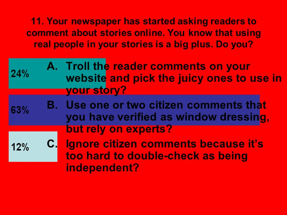 11. Your newspaper has started asking readers to comment about stories online. You know that using real people in your stories is a big plus. Do you?