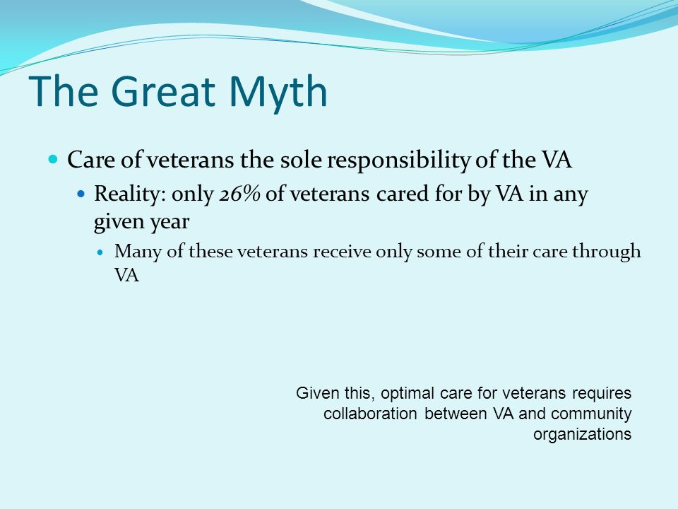 The Great Myth Care of veterans the sole responsibility of the VA Reality: only 26% of veterans cared for by VA in any given year Many of these vetera