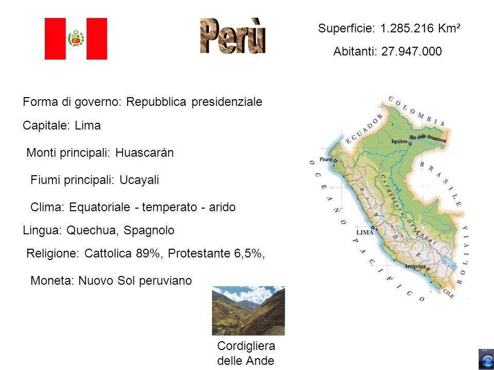 Superficie: 1.285.216 Km² Abitanti: 27.947.000 Forma di governo: Repubblica presidenziale Capitale: Lima Monti principali: Huascarán Fiumi principali: