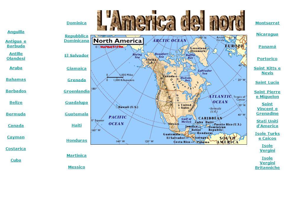 Anguilla Antigua e Barbuda Antille Olandesi Aruba Bahamas Barbados Belize Bermuda Canada Cayman Costarica Cuba Dominica Repubblica Dominicana El Salva