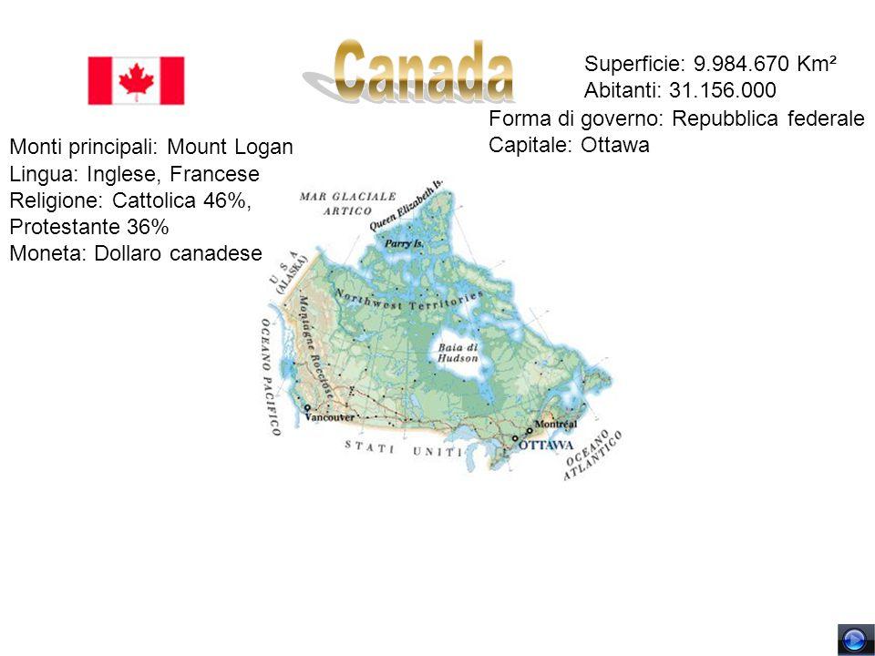 Superficie: 9.984.670 Km² Abitanti: 31.156.000 Forma di governo: Repubblica federale Capitale: Ottawa Monti principali: Mount Logan Lingua: Inglese, F