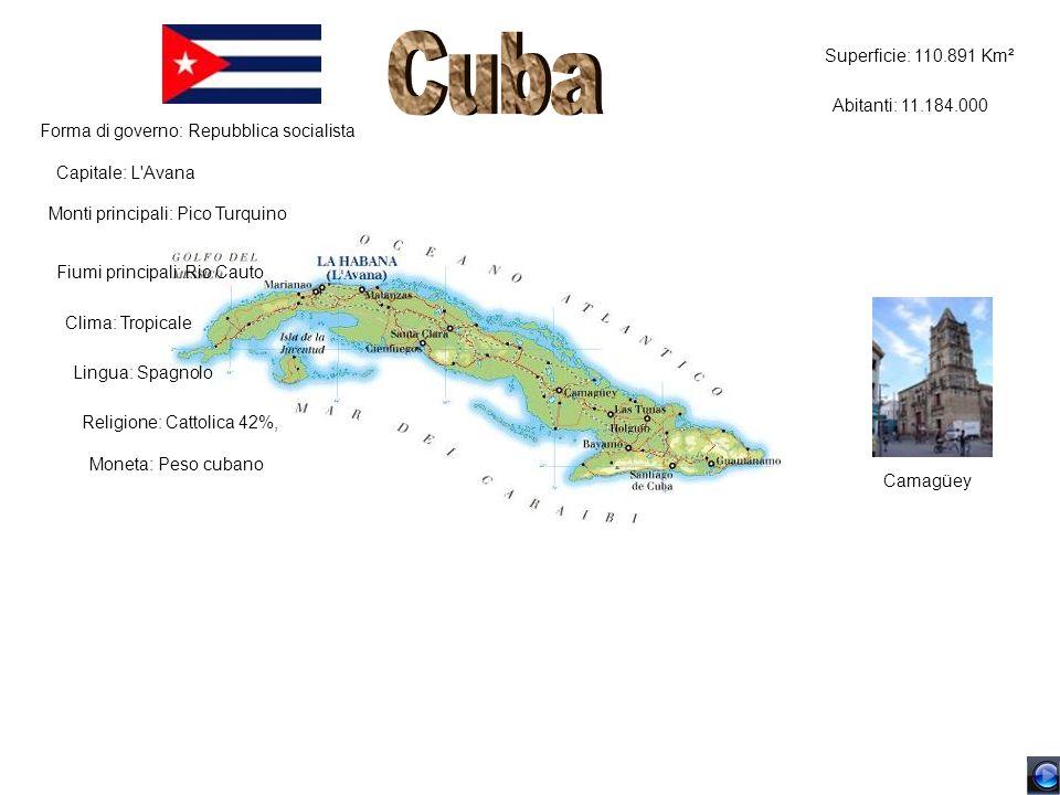 Superficie: 110.891 Km² Abitanti: 11.184.000 Forma di governo: Repubblica socialista Capitale: L'Avana Monti principali: Pico Turquino Fiumi principal