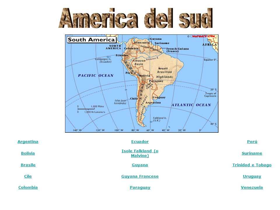 Argentina Ecuador Perú Bolivia Isole Falkland (o Malvine) Suriname Brasile Guyana Trinidad e Tobago Cile Guyana Francese Uruguay Colombia Paraguay Ven